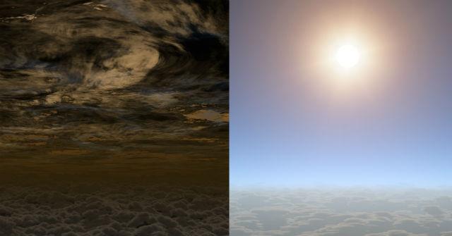Если бы пилоты летали по небу этого мира, то они бы видели кучевые облака под собой и чистое небо сверху (иллюстрация NASA/JPL-Caltech).