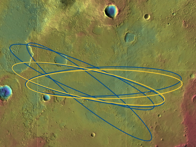 Эллипсы зон возможной посадки в районе гряды Арам (ESA/DLR/FU Berlin & NASA MGS MOLA Science Team).