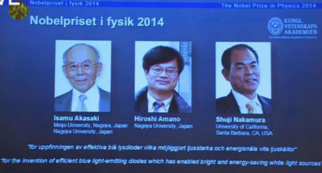Лауреатами Нобелевской премии по физике за 2014 год стали японцы Исаму Акасаки, Хироши Амано и Сюдзи Накамура (фото Nobel Prize).