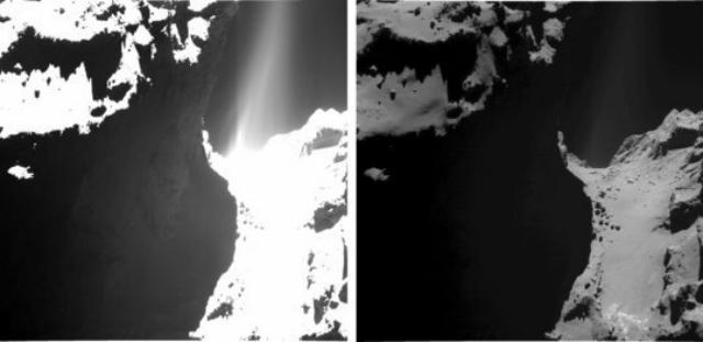 Два изображения одной и той же области кометы Чурюмова-Герасименко. На первом изображении слишком высокая экспозиция, так что плохо различим ландшафт, зато видны потоки, вырывающиеся из поверхности небесного тела (фото ESA/Rosetta/MPS for OSIRIS Team MPS/UPD/LAM/IAA/SSO/INTA/UPM/DASP/IDA).