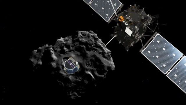 """""""Филы"""", спускающийся на поверхность ядра кометы, в представлении художника (иллюстрация ESA)."""