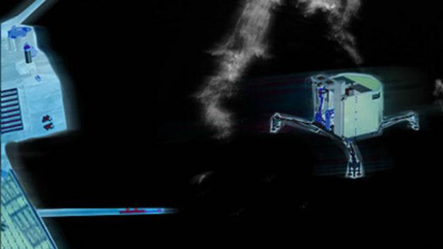 """Аппарат """"Филы"""" отстыковывается от """"Розетты"""" и начинает спуск на поверхность кометы (иллюстрация ESA)."""