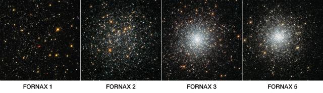 Четыре шаровых скопления в карликовых галактиках созвездия Печи — в этом регионе отсутствует огромная популяция звёзд (фото NASA, ESA, S. Larsen/Radboud University).