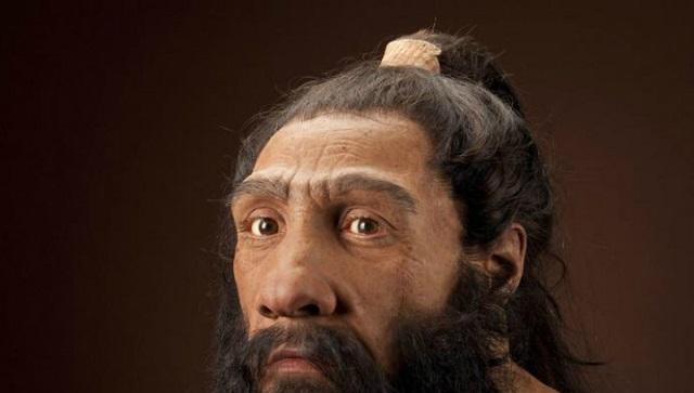 Реконструкция внешности взрослого неандертальца (художник John Gurche/фото Chip Clark).