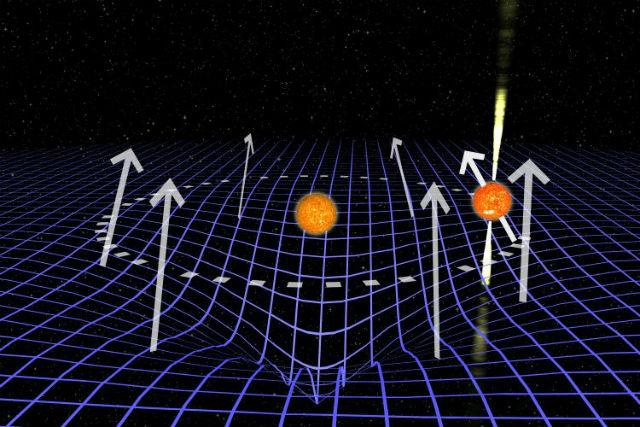 Пульсары в двойной системе искривляют пространство-время своим мощным гравитационным полем (иллюстрация ASTRON).