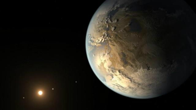 Kepler-186F, первая скалистая планета, обнаруженная в обитаемой зоне своей звезды (иллюстрация NASA Ames/SETI Institute/JPL-Caltech).