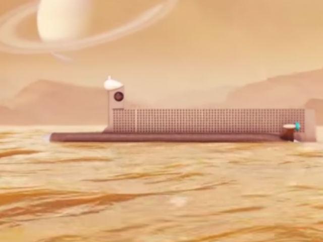 Субмарина на поверхности углеводородного моря. Спинной гребень содержит антенны для связи с Землёй (иллюстрация NASA).