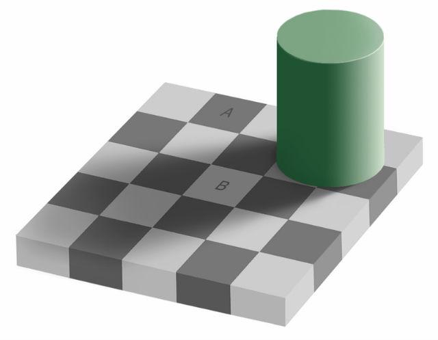 """Иллюзия с тенью на шахматной доске: клетки """"А"""" и """"В"""" кажутся разного цвета, но на самом деле они абсолютно одинаковые (иллюстрация Wikimedia Commons)."""