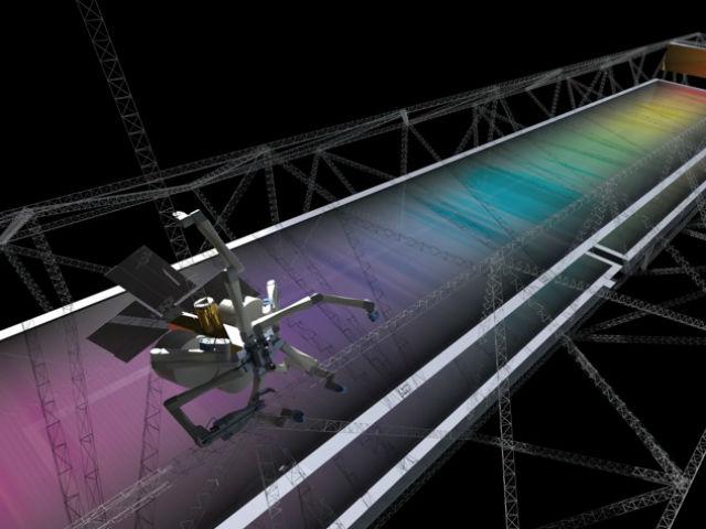 Роботы-пауки смогут прямо в космосе создавать опорные конструкции для таких массивных устройств, как мощные солнечные батареи (иллюстрация Tethers Unlimited).