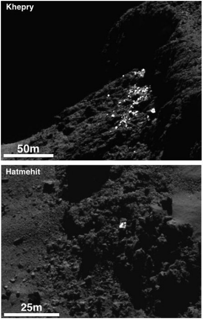 Ледяные кластеры и отдельные валуны (фото ESA/Rosetta/MPS for OSIRIS Team MPS/UPD/LAM/IAA/SSO/INTA/UPM/DASP/IDA).