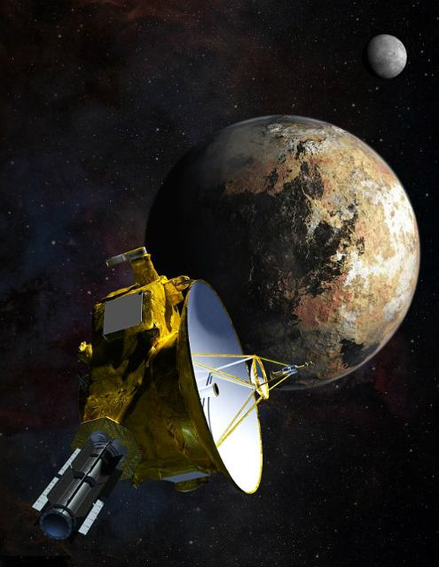 Так художник представляет сближение New Horizons с Плутоном, которое позволит учёным разглядеть особенности поверхности планеты (иллюстрация JHUAPL/SwRl).