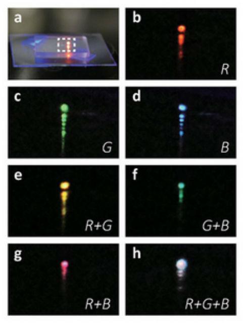 Коллаж снимков демонстрирует излучение нового устройства в разных частях нанолиста: явно заметен свет красного, зелёного, синего, жёлтого, голубого, пурпурного и белого цветов (фото ASU/Nature Nanotechnology).
