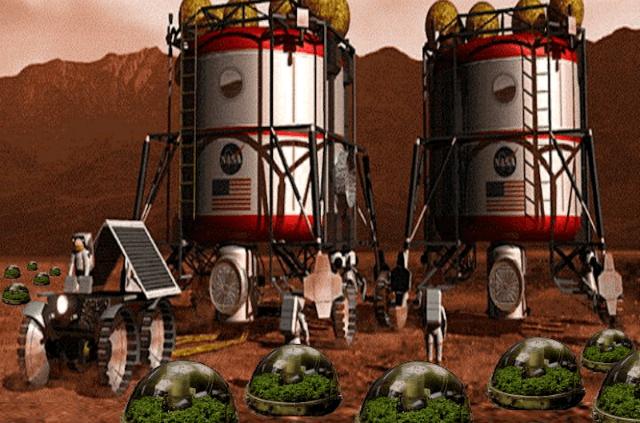 Будущие марсианские теплицы в представлении художника (иллюстрация NASA).