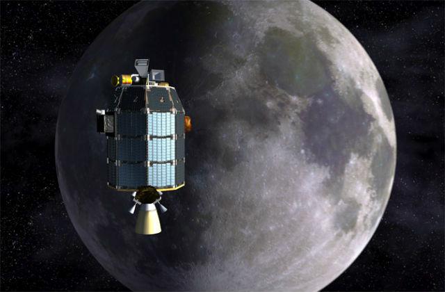 Зонд LADEE над Луной в представлении художника (иллюстрация NASA).