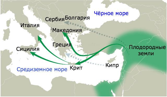 Возможный путь переселения ближневосточных земледельцев в Европу (иллюстрация Democritus University).