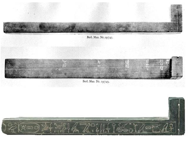Солнечные часы L-образной конструкции из Берлинского Египетского Музея. Нижний образец — датируется 1000-600 гг. до н.э. Верхний (два изображения) — эпохой правления Тутмоса III (XVI в. до н.э.).